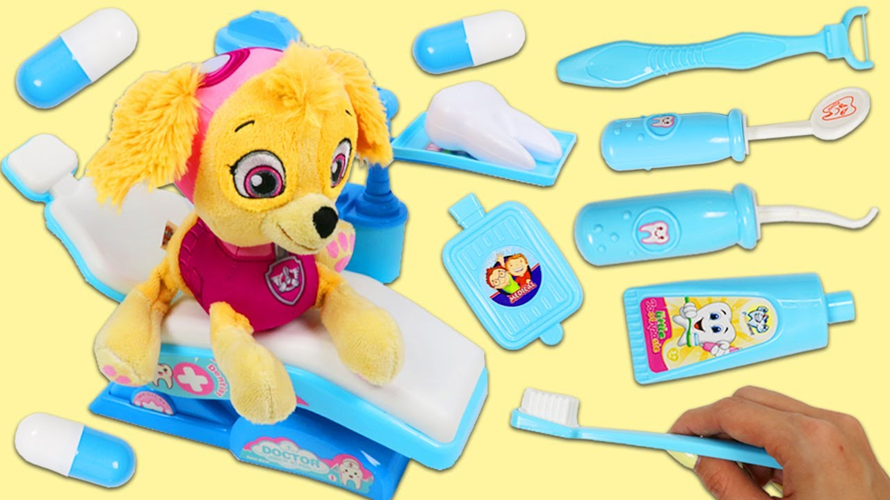 Paw Patrol Baby Skye Visits the Dentist Toy Hospital for a Check Up & Gets Surprise Toys!