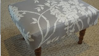 Diy: How To Reupholster A Foot Stool From The Thrift Store!