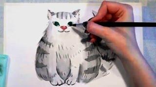КАК НАРИСОВАТЬ  пушистого КОТА  АКВАРЕЛЬ(КАК научить РЕБЁНКА РИСОВАТЬ http://master.paint.e-autopay.com/ РИСОВАНИЕ для самых МАЛЕНЬКИХ http://baby.master.paint.e-autopay.com/ Разви..., 2013-09-17T20:24:43.000Z)