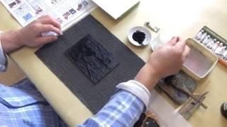 木版画。単色(モノクロ)版画の摺り720p