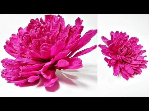 Dahlia crepe paper flower diy making tutorial. Paper flowers easy for kids,for beginners