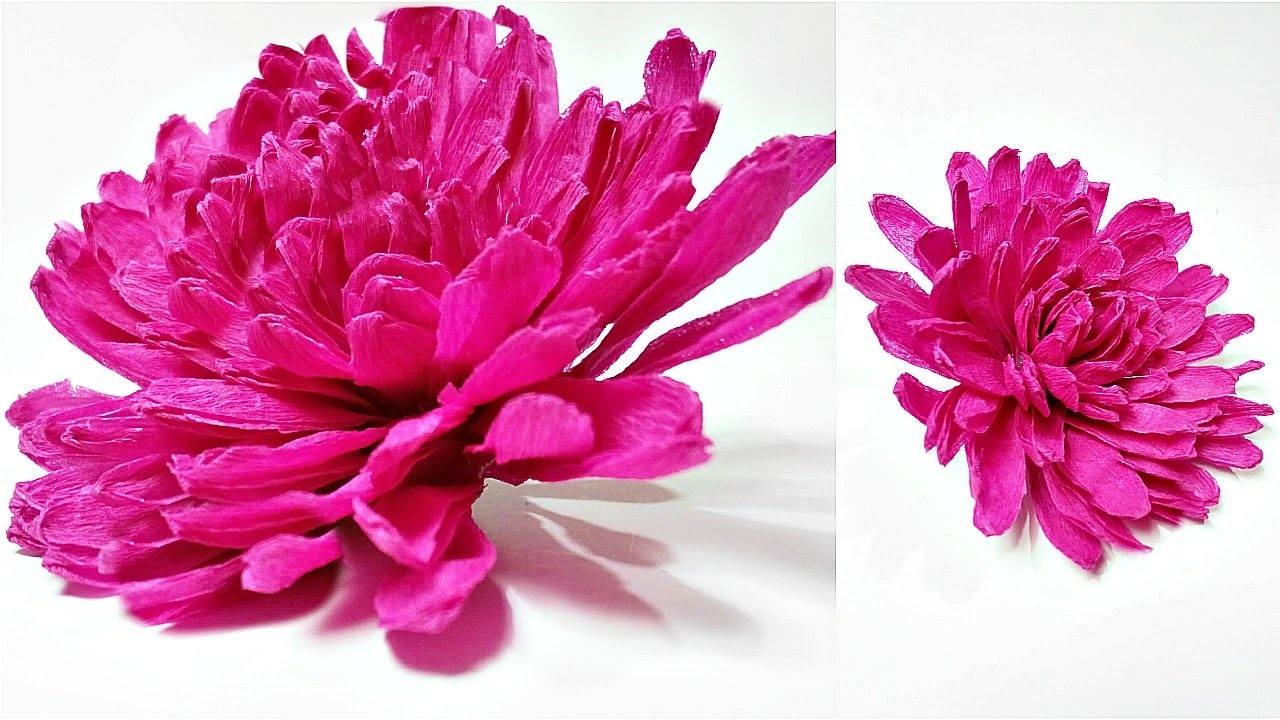 Dahlia Crepe Paper Flower Diy Making Tutorial Paper Flowers Easy