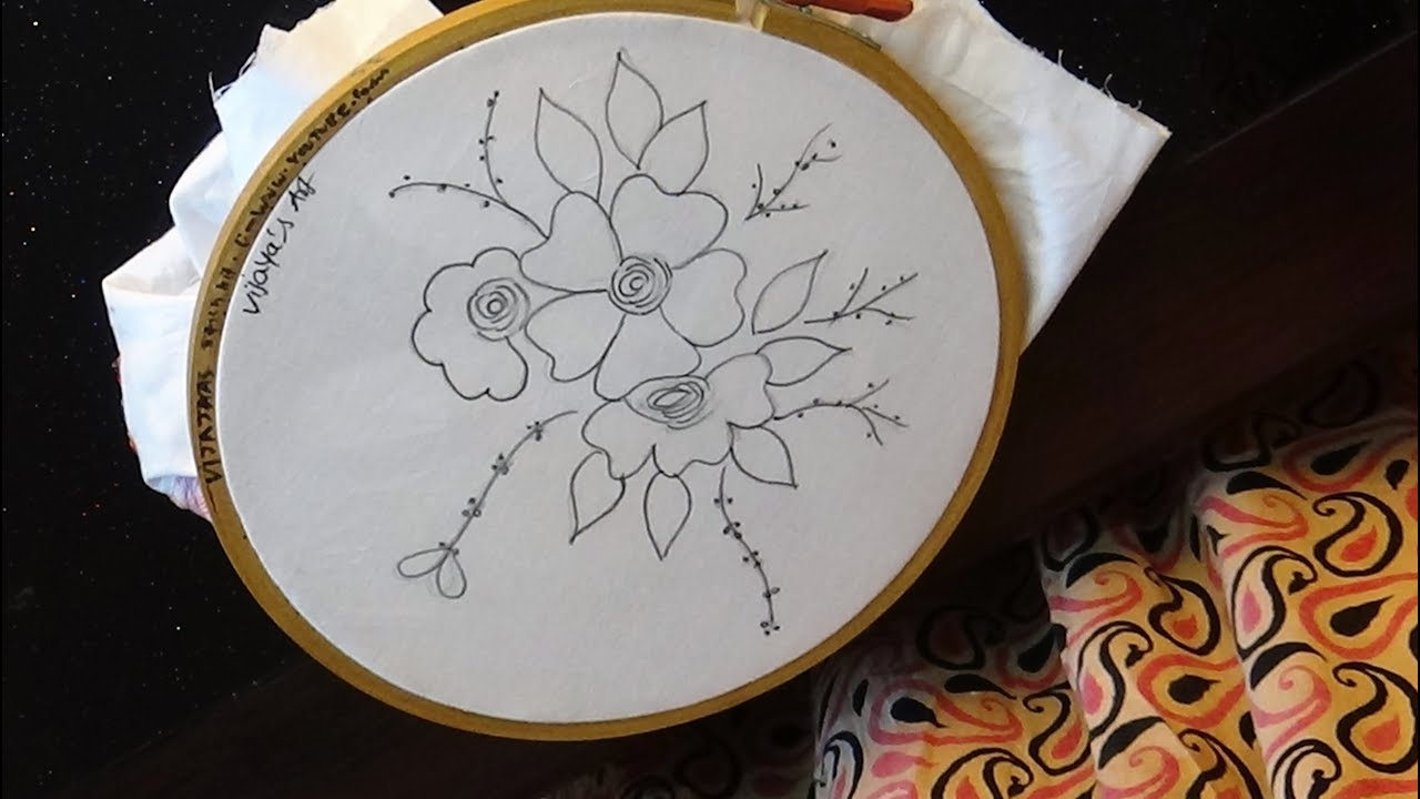 Simple and beautiful easy embroidery drawing designs - YouTube