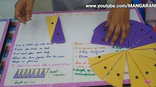 High school Maths working model, area of a circle through parallelogram,