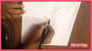 Hibiscus Flower Drawing - How to Draw Hibiscus Flower - Easy Flower Drawing for Children