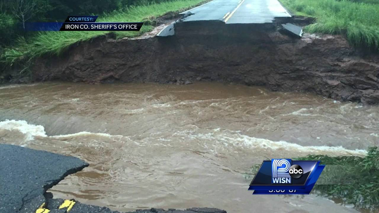 Floods wash out roads in Wisconsin and Minnesota