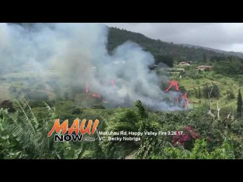 Maui Crews Battle Large Fire at Mokuahu Road in Happy Valley