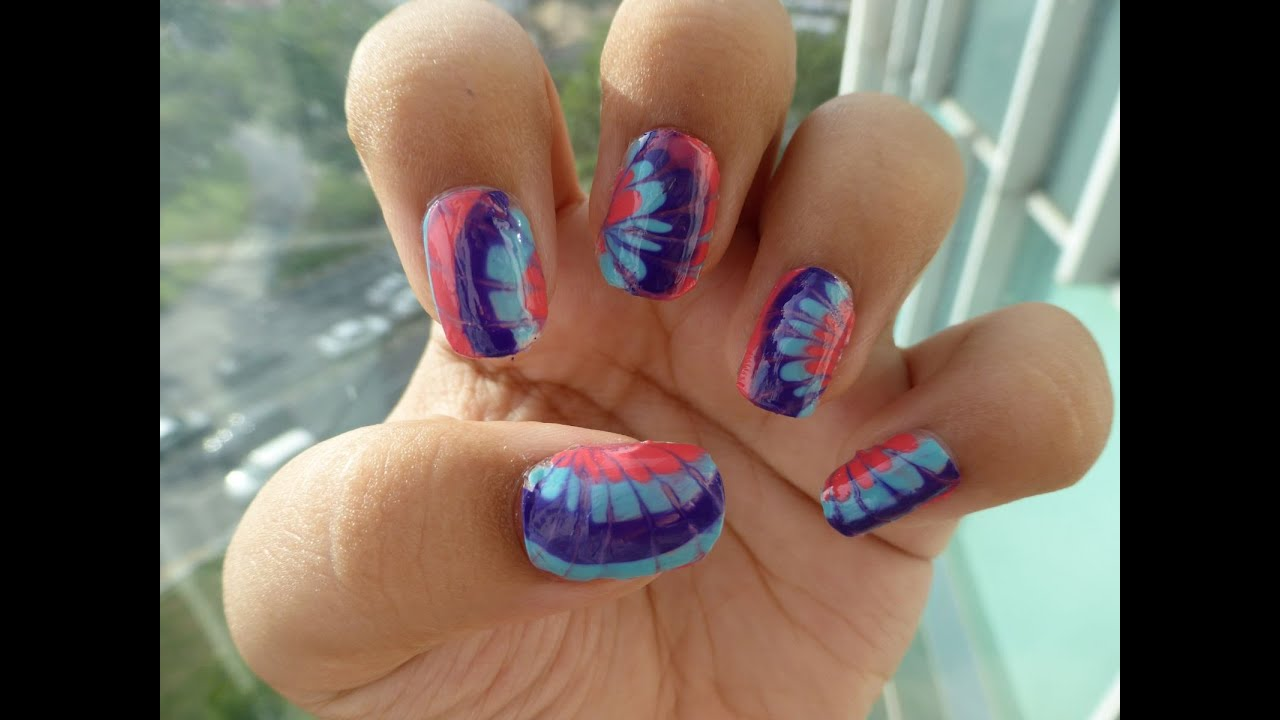 Watermarble nails without water easy way to do watermarble nail watermarble nails without water easy way to do watermarble nail art youtube prinsesfo Images