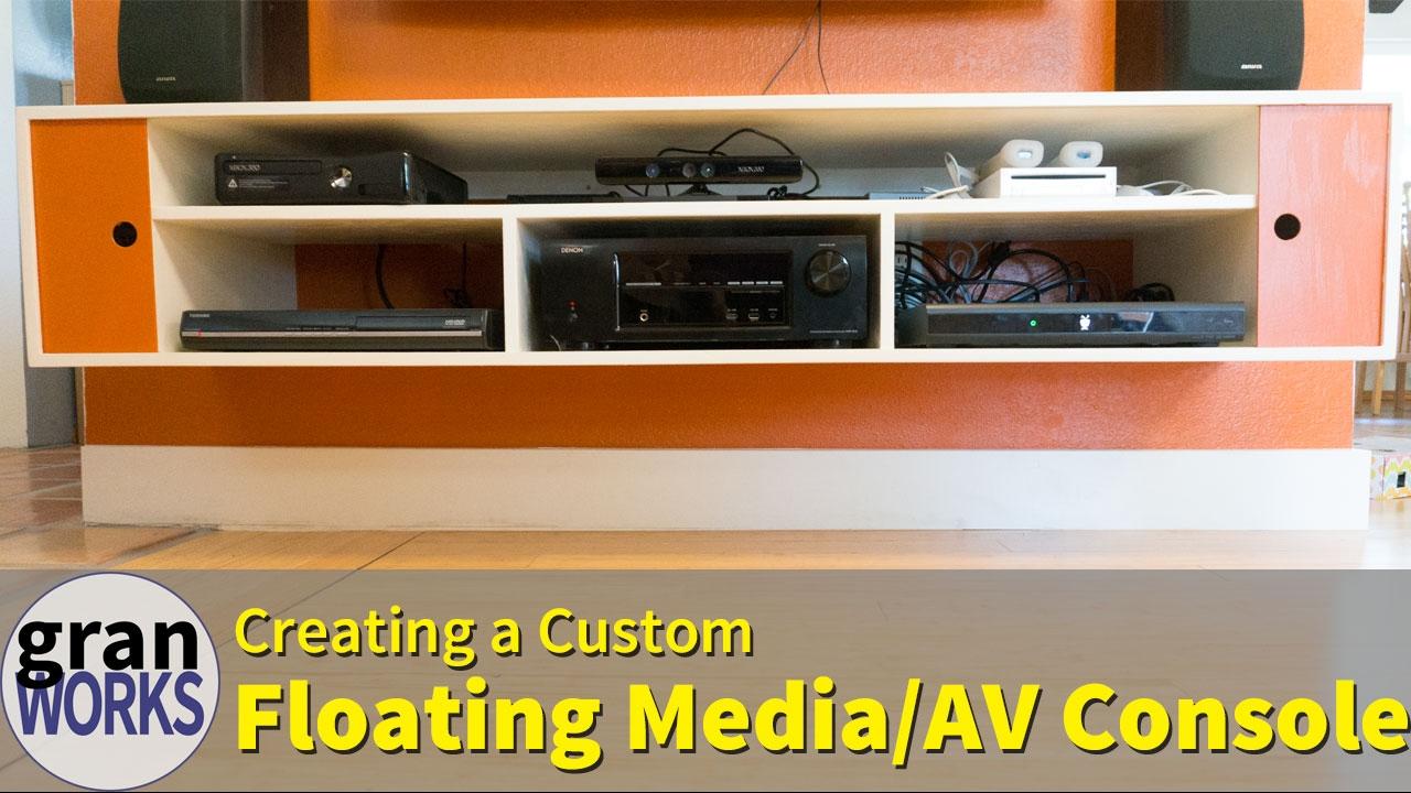 Custom Floating Media Console Mid Century Modern Woodworking