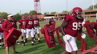 Alabama defensive line hits the sled