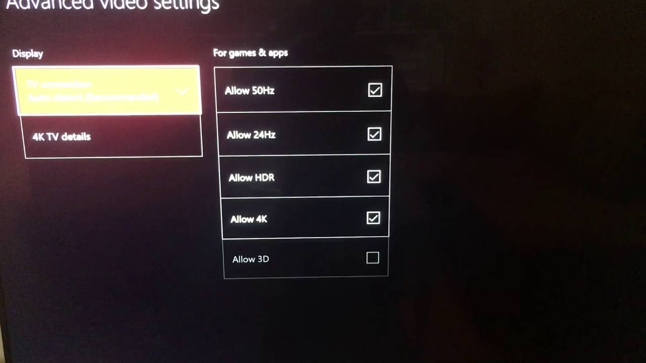 xbox one s 4k settings youtube. Black Bedroom Furniture Sets. Home Design Ideas