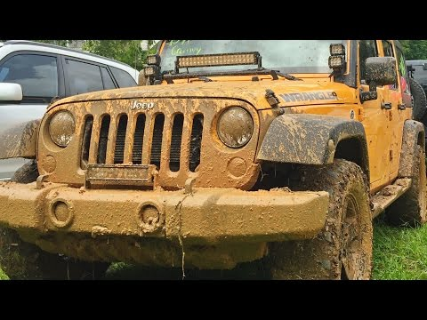 Jeep Mud Outdoor Adventure.  Off Road Tires Race Track.  Street Tires Slip Test at the end of video