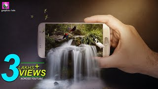 3D Waterfall On Mobile(3D Pop Out Effect) Photo Manipulation In Photoshop - Photoshop CC