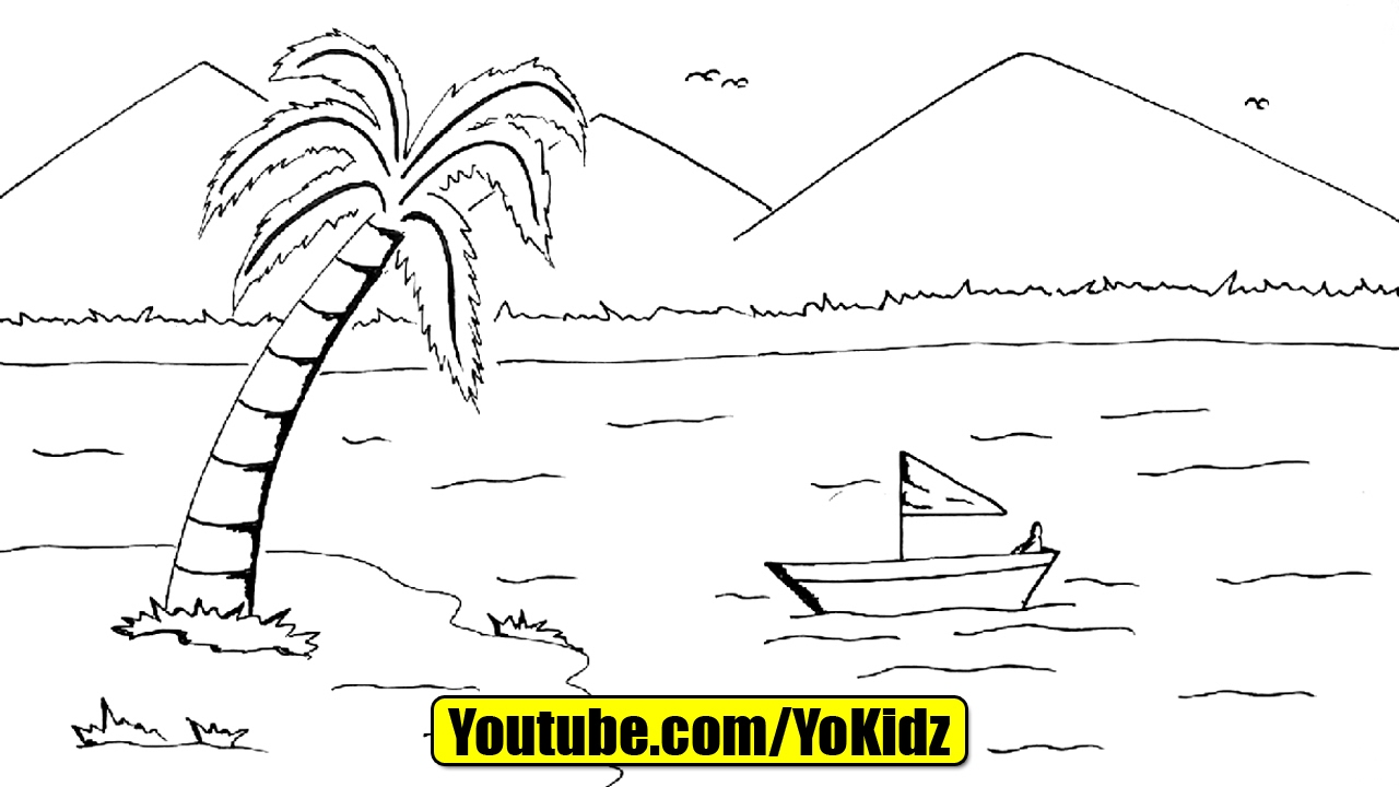 Line Drawing Nature : How to draw scenery of nature youtube