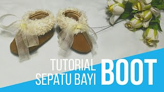 TUTORIAL SEPATU BAYI BOOT BULU - Diy baby boots fur