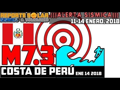 PERU M7.3 ALERTA DE TSUNAMI + 5 VOLCANES EN UN DÍA  - ENE 14 2018