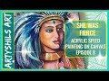 How to paint NATIVE AMERICAN WOMAN :- Acrylic speed painting on canvas episode 8