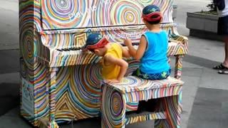 HiMY SYeD -- Daniel & Baby Brother enjoying PlayMe2015 Cuba Street Piano Toronto Sunday July 15 2012