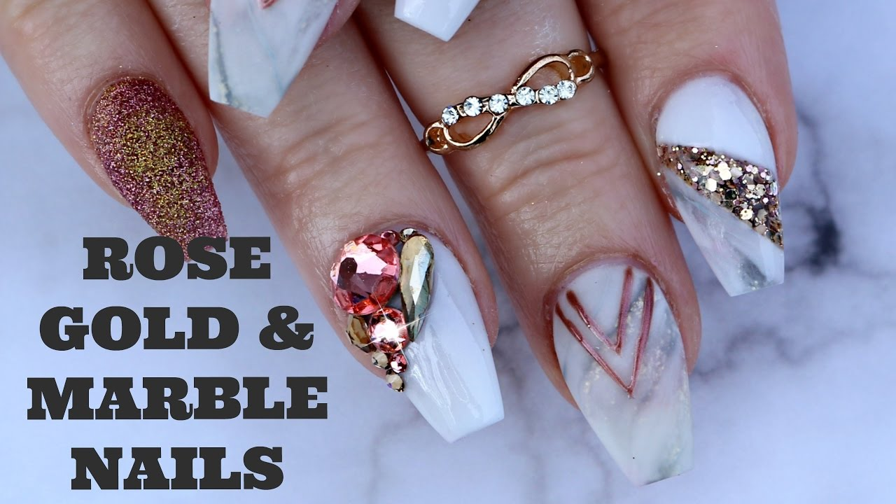 Rose Gold Marble Nail Art Tutorial 3d Glitter Youtube