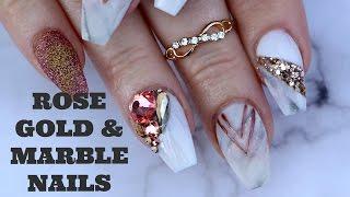 ROSE GOLD & MARBLE NAIL ART TUTORIAL | 3d glitter