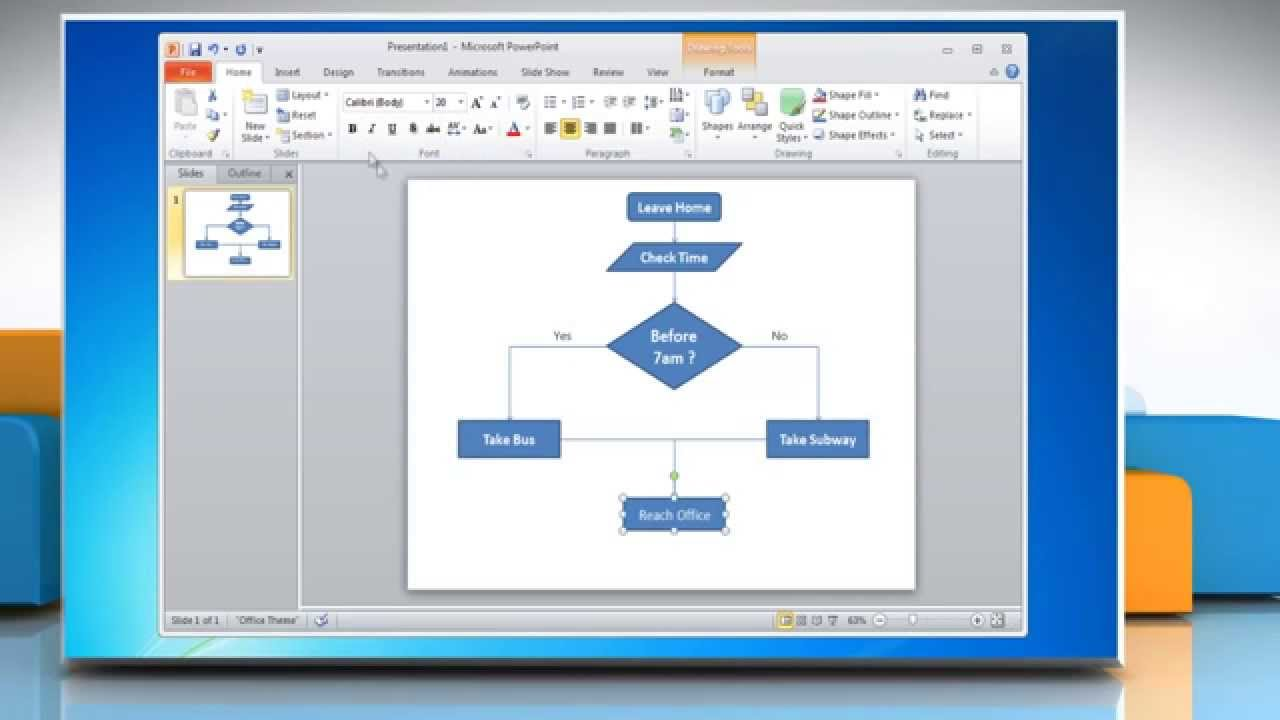 how to make a flow chart in powerpoint 2010 youtube rh youtube com Application Process Flow Diagram Manufacturing Process Flow Diagram