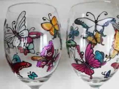 Artist Hand Painted Glass by Louise Poulsom