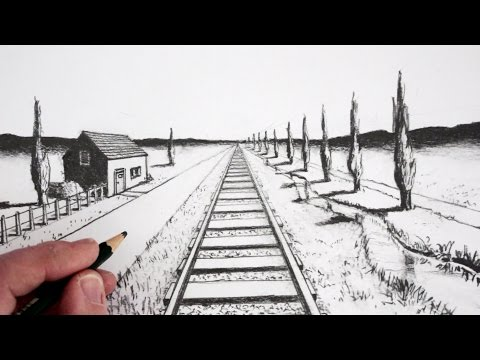 Image result for perspective vanishing point railroad drawing