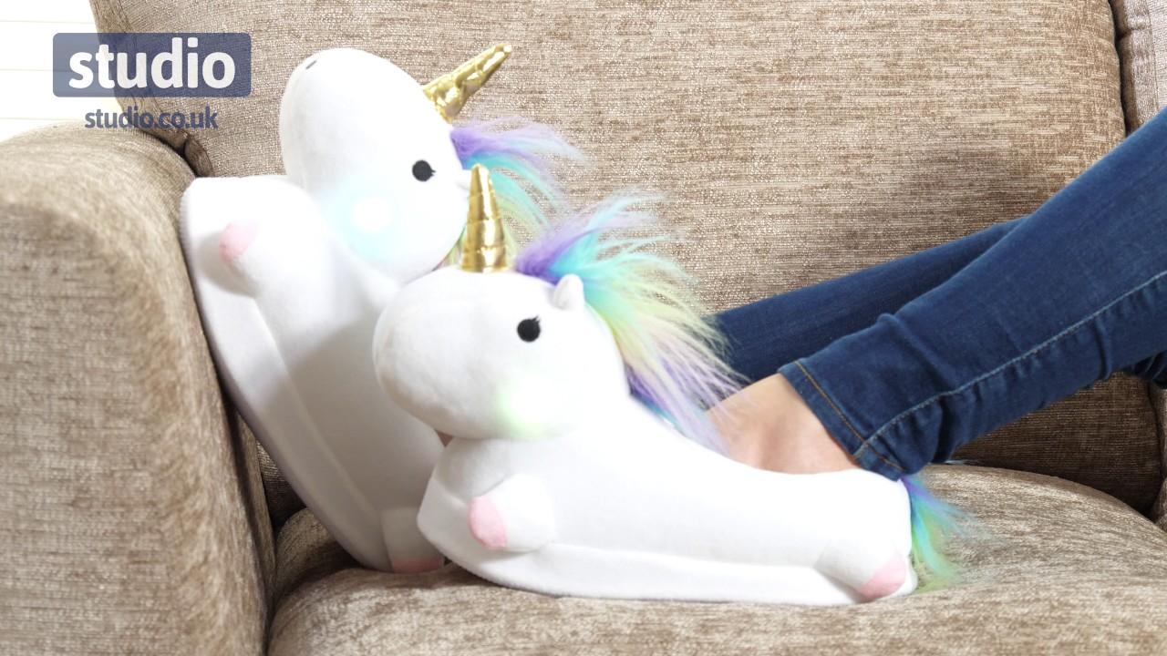 d8ec7b0a7 Studio - Light Up Unicorn Slippers - YouTube