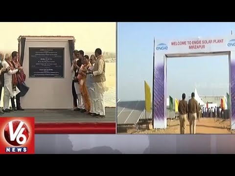 PM Modi and French President Inaugurate UP's Largest Solar Power Plant In Mirzapur | V6 News