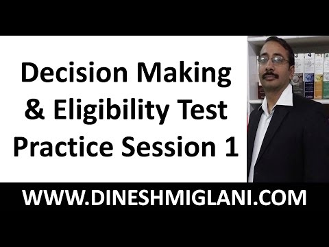Best Tricks and Shortcuts to Decision Making and Eligibility Test  Practice Problems Session 1
