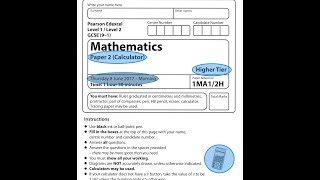 EDEXCEL GCSE Maths. June 2017. Paper 2. Higher. Calculator. 2H.
