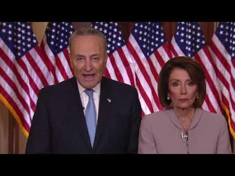 Chuck Schumer & Nancy Pelosi Deliver Democrat Response To President Trump's Address 1/8/19