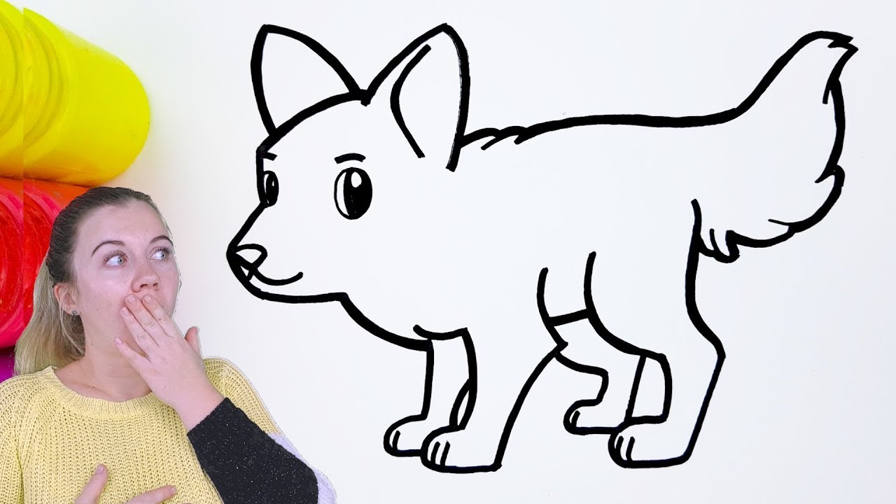 Cute Cartoon Wolf Drawing Easy Wolf Coloring Pages For Kids Youtube