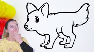 wolf coloring pages cartoon cute easy drawing