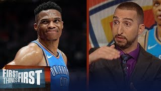 Nick Wright reacts to Westbrook's verbal altercation with 2 Jazz fans | NBA | FIRST THINGS FIRST