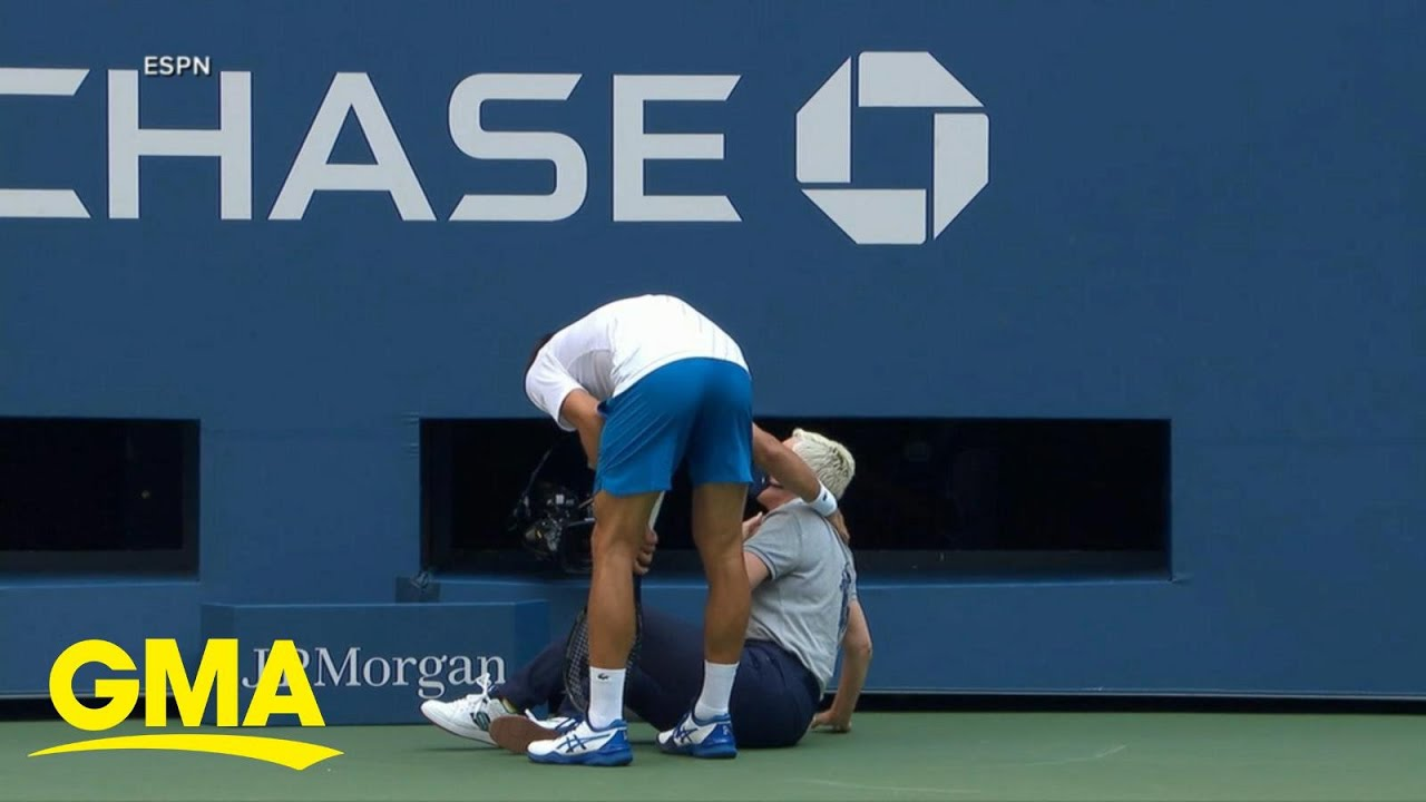 Tennis Star Novak Djokovic Abruptly Disqualified From Us Open L Gma Youtube
