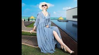 2021 новое летнее женское пляжное шифоновое асимметричное винтажное платье с рукавом три четверти