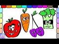 🎨 Learn Colors And Emotions With Funny Fruits And Veggies Digital Coloring Book