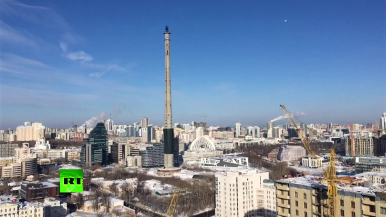 RAW: Disused TV tower demolished in Ekaterinburg, Russia, ahead of World Cup