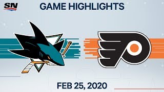 NHL Highlights | Sharks vs. Flyers - Feb. 25, 2020