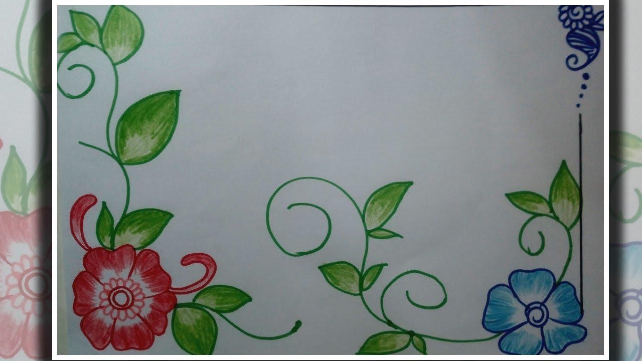 Flower Design Drawing Floral Border Design On Paper Border Frame Design Youtube