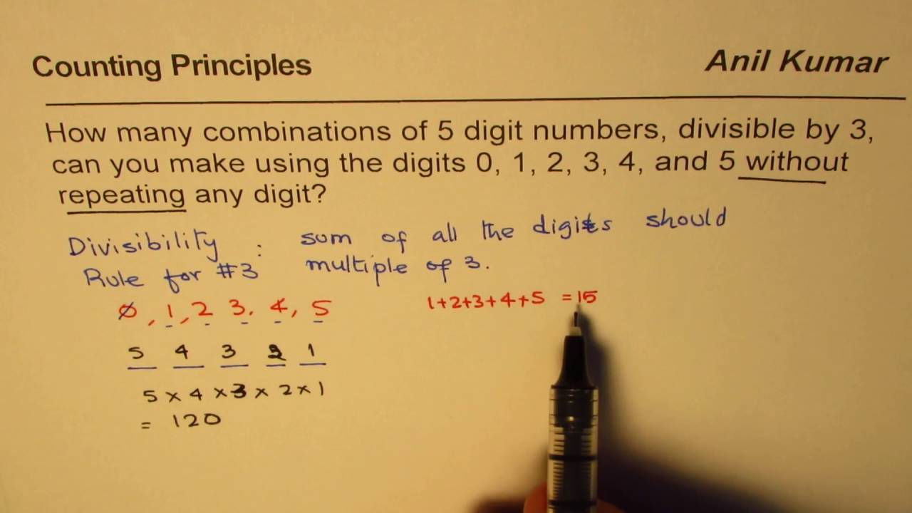 Find the number of Combinations of 5 digit numbers Divisible by 3