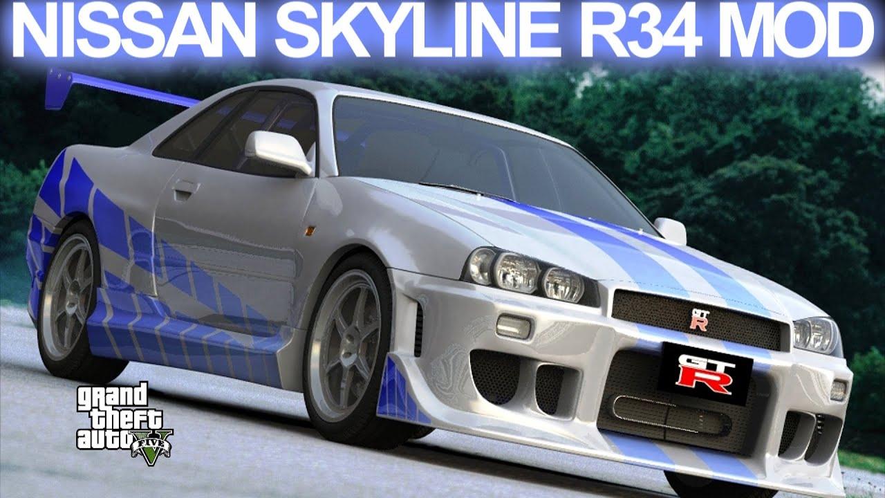 Paul Walker Blue Car Wallpaper Gta 5 Nissan Skyline Gt R R34 Fast And Furious Mod Hd