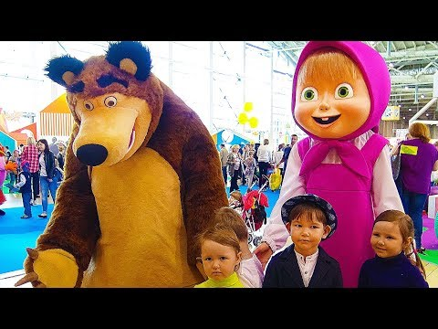 Hello song / Masha and the Bear & other cartoon characters. Indoor playground with baby fun playtime