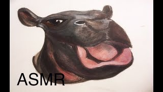 ASMR art - Hippo drawing and painting - Long