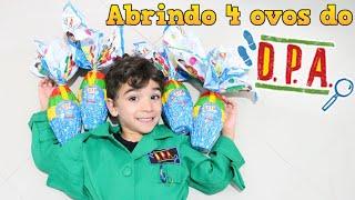 Abrindo 4 ovos de Páscoa dos Detetives do Prédio Azul DPA com surpresa - Lucas Rocha Kids