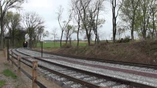 HD Railfanning April 29 2014 a Cold Rainy Day in Lancaster County Strasburg Railroad Amtrak Keystone