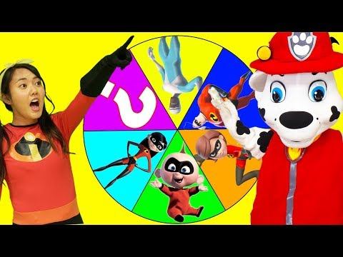Incredibles 2 and Paw Patrol Marshall Giant Smash Game with Ellie Sparkles In Real Life