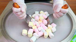 Marshmallow ice cream rolls street food - ايسكريم رول مارشميلو