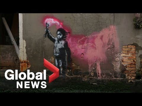 Banksy work showing a child with flare on Venice canal confirmed as genuine
